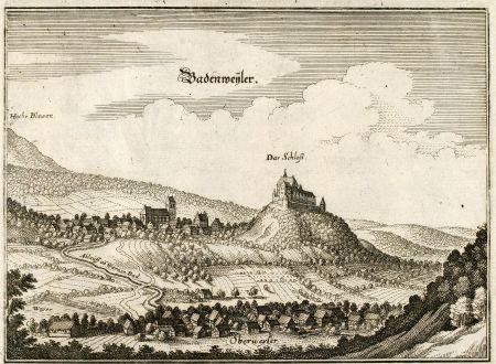 Antique Maps, Merian, Germany, Baden-Wurttemberg, Badenweiler, Oberweiler: Badenweyler