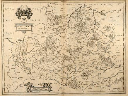 Antike Landkarten, Janssonius, Deutschland, Nordrhein-Westfalen, Hessen, Waldeck: Waldeck Comitatus