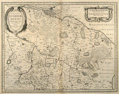 Antike Landkarten, Janssonius, Deutschland, Niedersachsen, Bremen, Hamburg, 1650: Ducatus Luneburgensis adiacentiumq Regionum Delineatio