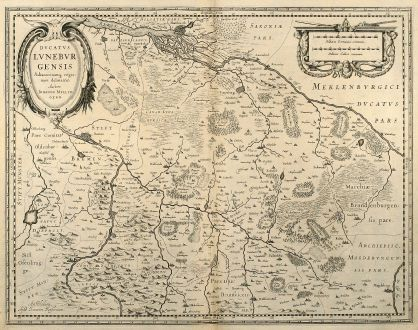 Antique Maps, Janssonius, Germany, Lower Saxony, Bremen, Hamburg, 1650: Ducatus Luneburgensis adiacentiumq Regionum Delineatio