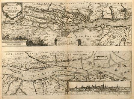 Antike Landkarten, Janssonius, Deutschland, Hamburg, Elblauf, 1650: Nobilis Fluvius Albis ... A Ioanne Ianssonio Amstelodami / Emporium Hamburgum