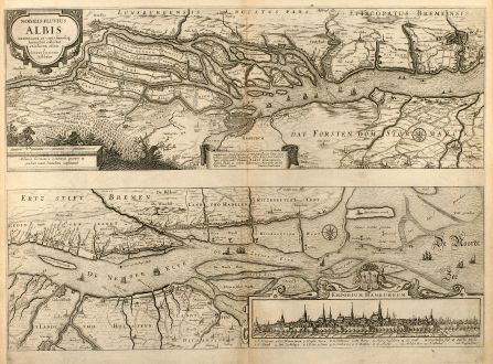 Antique Maps, Janssonius, Germany, Hamburg, Course of Elbe River, 1650: Nobilis Fluvius Albis ... A Ioanne Ianssonio Amstelodami / Emporium Hamburgum