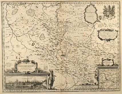 Antike Landkarten, Blaeu, Deutschland, Niedersachsen, Osnabrück, 1635: Osnabrugensis Episcopatus. Autore Ioanne Gigante.