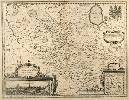Antique Maps, Blaeu, Germany, Lower-Saxony, Osnabrück, 1635: Osnabrugensis Episcopatus. Autore Ioanne Gigante.