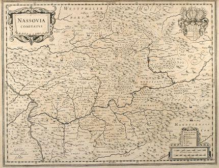 Antike Landkarten, Hondius, Deutschland, Hessen, Rheinland-Pfalz, Nassau, 1630: Nassovia Comitatus