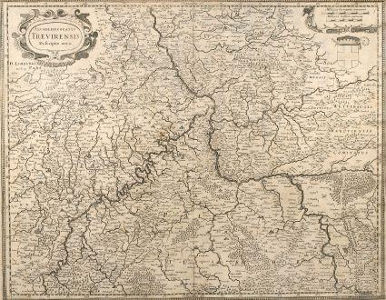Antike Landkarten, Hondius, Deutschland, Rheinland-Pfalz, 1630: Archiepiscopatus Trevirensis Descriptio Nova