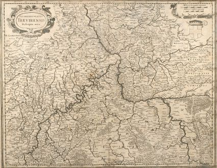 Antique Maps, Hondius, Germany, Rhineland-Palatinate, 1630: Archiepiscopatus Trevirensis Descriptio Nova