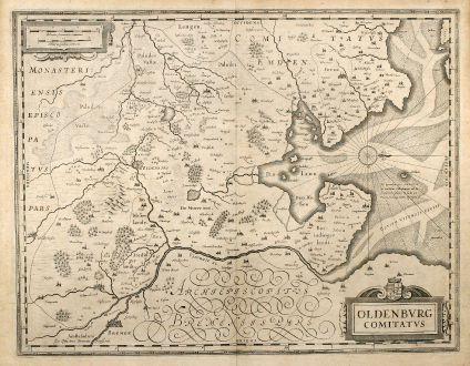 Antike Landkarten, Janssonius, Deutschland, Niedersachsen, Bremen, Oldenburg: Oldenburg Comitatus