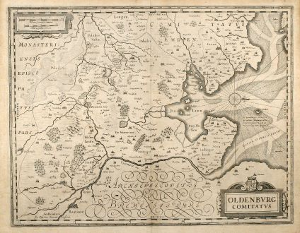Antique Maps, Janssonius, Germany, Lower Saxony, Bremen, Oldenburg, 1645: Oldenburg Comitatus
