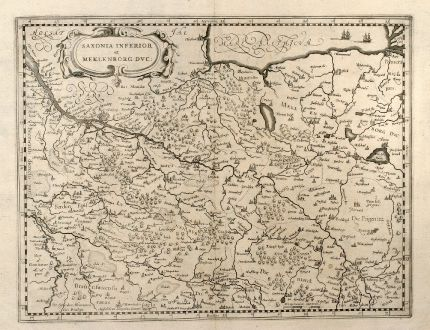 Antike Landkarten, Mercator, Deutschland, Niedersachsen, Mecklenburg-Vorpommern: Saxonia Inferior et Meklenborg Duc.