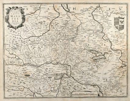 Antike Landkarten, Hondius, Deutschland, Sachsen-Anhalt, Mansfeld, 1630: Comitatus Mansfeldia