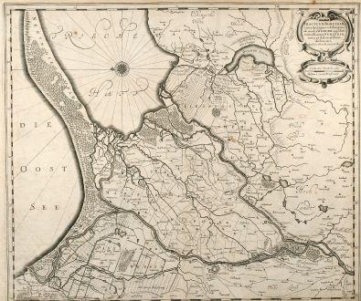 Antique Maps, Janssonius, Poland, Eastern Prussia, 1640: Tractuum Borussiae, circa Gedanum et Elbingam, ab Incolis Werder Appellati, cum Adiuncta Neringia, Nova et Elaboratißima...