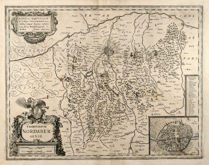 Antike Landkarten, Janssonius, Deutschland, Bayern, Nürnberg, 1640: Territorium Norimbergense