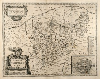 Antique Maps, Janssonius, Germany, Bavaria, Nuremberg, 1640: Territorium Norimbergense