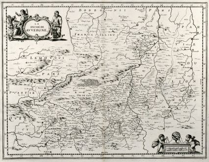 Antique Maps, Merian, France, Auvergne, 1657: Le Duche de Auvergne.