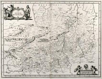 Antique Maps, Merian, France, Auvergne, 1657: Le Duche de Auvergne.
