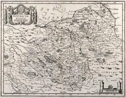 Antike Landkarten, Merian, Frankreich, Bourges, 1657: Bituricum Ducatus Duche de Berri