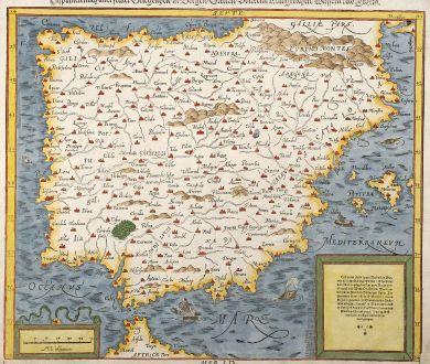 Antique Maps, Münster, Spain - Portugal, 1550: Hispanien nach aller seiner Gelegenheit, in Bergen, Stetten, Völckern, Königreichen, Wässern und Inseln