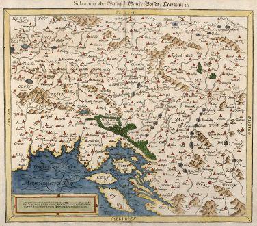 Antike Landkarten, Münster, Balkan, Kroatien, Slowenien, 1550: Sclauonia oder Windisch Parck / Bossen / Crabaten