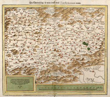 Antique Maps, Münster, Romania - Moldavia, Transylvania, 1550: Die Siebenburg, so man sunst auch Transsylvaniam nennt