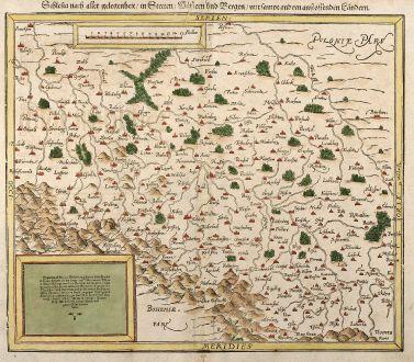 Antike Landkarten, Münster, Polen, Schlesien, 1550: Schlesia nach aller Gelegenheit / in Stetten / Wassern und Bergen / mit sampt andern anstossenden Ländern