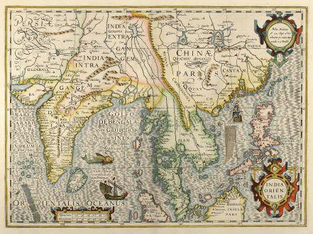 Antike Landkarten, Mercator, Südost Asien, Indien, China, Thailand, Philippinen: India Orientalis