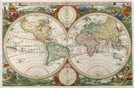 Antike Landkarten, Visscher, Weltkarten, 1663: Orbis Terrarum Tabula Recens Emendata et in Lucem Edita per N. Visscher