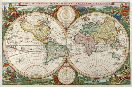Antique Maps, Visscher, World Maps, 1663: Orbis Terrarum Tabula Recens Emendata et in Lucem Edita per N. Visscher