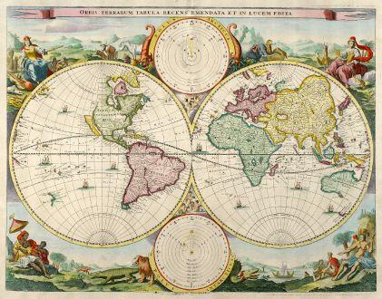 Antique Maps, Stoopendaal, World Maps, 1680: Orbis Terrarum Tabula Recens Emendata et in Lucem Edita