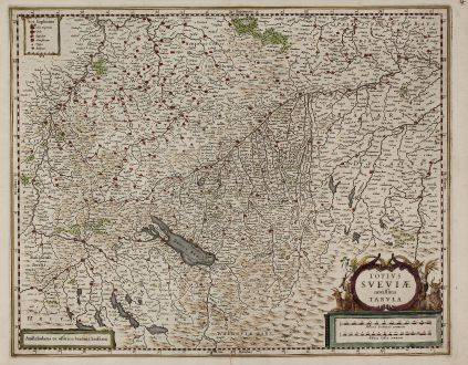Antike Landkarten, Janssonius, Deutschland, Baden-Württemberg, Schwaben, 1640: Totius Sueviae novissima Tabula
