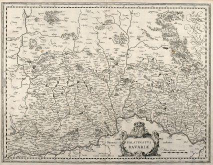 Antike Landkarten, Blaeu, Deutschland, Bayern, 1640: Palatinatus Bavariae