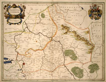 Antique Maps, Hondius, Germany, Saxony, 1640: Saxonia Superior