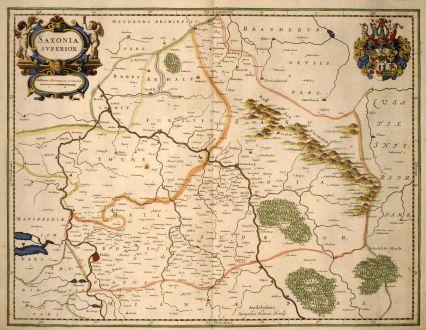 Antique Maps, Hondius, Germany, Saxony, 1640: Saxonia Superior