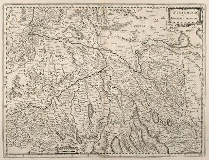 Antike Landkarten, Hondius, Schweiz, Zürich, Basel, 1640: Zurichgow et Basiliensis Provincia