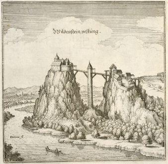 Antike Landkarten, Merian, Deutschland, Baden-Württemberg, Leibertingen, Wildenstein: Wildenstein, vestung.