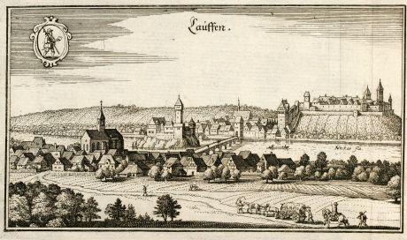 Antique Maps, Merian, Germany, Baden-Wurttemberg, Lauffen, Neckar, 1643: Lauffen