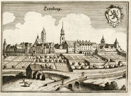 Antike Landkarten, Merian, Deutschland, Baden-Württemberg, Leonberg, 1643: Leonberg
