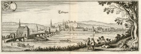 Antike Landkarten, Merian, Deutschland, Baden-Württemberg, Esslingen, Neckar: Eßlingen