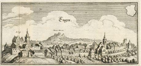 Antike Landkarten, Merian, Deutschland, Baden-Württemberg, Engen im Hegau, 1643: Engen