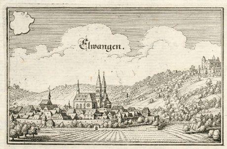 Antique Maps, Merian, Germany, Baden-Wurttemberg, Ellwangen, Jagst, 1643: Elwangen