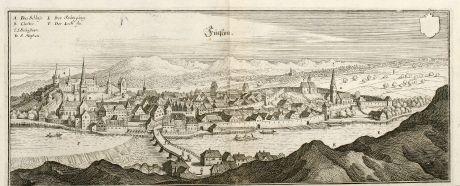 Antike Landkarten, Merian, Deutschland, Bayern, Allgäu, Füssen am Lech, 1643: Fücßen