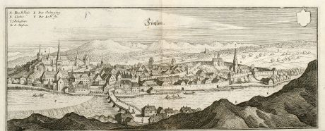 Antique Maps, Merian, Germany, Bavaria, Allgäu, Füssen, Lech, 1643: Fücßen