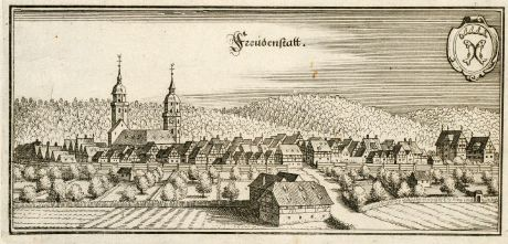 Antique Maps, Merian, Germany, Baden-Wurttemberg, Black Forest, Freudenstadt: Freudenstatt
