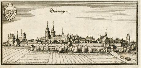 Antique Maps, Merian, Germany, Baden-Wurttemberg, Grüningen, 1643: Grüningen