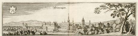 Antike Landkarten, Merian, Deutschland, Baden-Württemberg, Göppingen, 1643: Göppingen