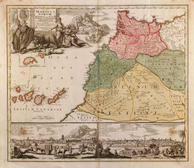 Antike Landkarten, Homann, Nordafrika, Marokko, 1728: Statuum Maroccanorum