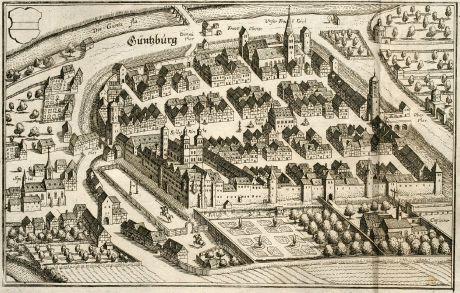 Antike Landkarten, Merian, Deutschland, Bayern, Schwaben, Günzburg, 1643: Güntzburg