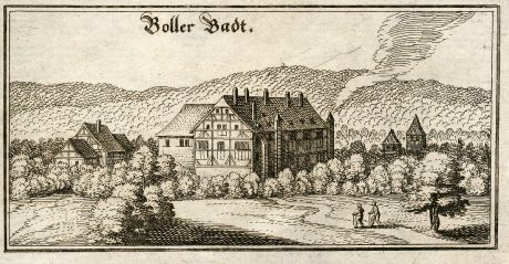 Antike Landkarten, Merian, Deutschland, Baden-Württemberg, Boll bei Göppingen: Boller Badt