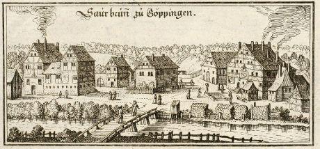 Antike Landkarten, Merian, Deutschland, Baden-Württemberg, Göppingen, Sauerbrunnen: Saurbrun zu Göppingen