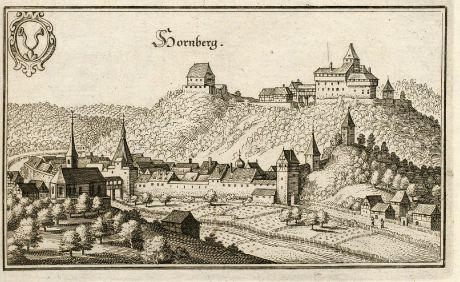 Antike Landkarten, Merian, Deutschland, Baden-Württemberg, Schwarzwald, Hornberg: Hornberg